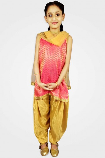 costume patiala brocart rouge