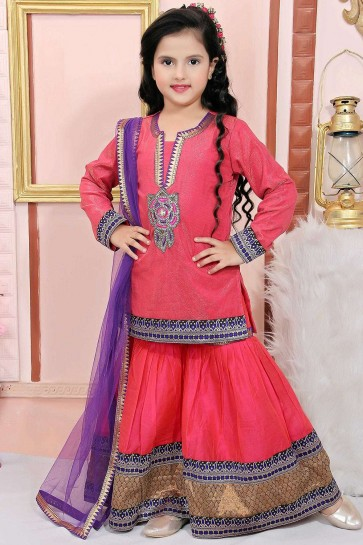 Filet Rose Et Miroitement Salwar Kameez