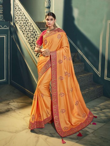 orange, saris en soie