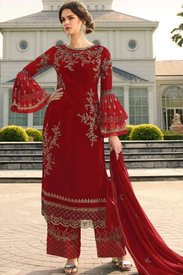 costume rouge palazzo georgette