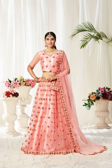 choli lehenga net rose clair