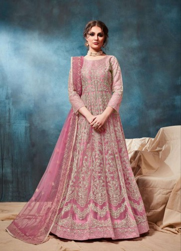 costume anarkali en filet rose