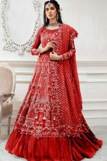 Combinaison Anarkali Filet Rouge