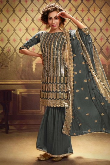 Costume Sharara Gris Doux Net