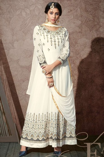Costume Blanc Georgette Anarkali