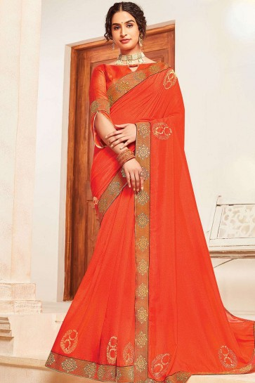 Saree En Soie Orange