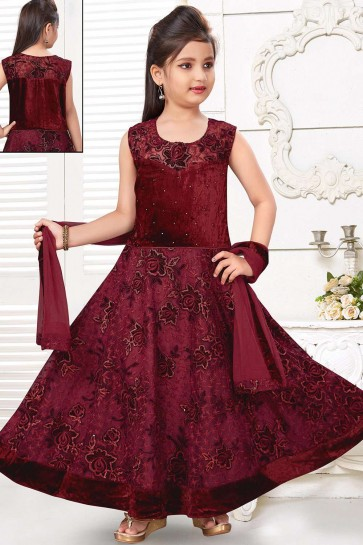 Robe Robe En Velours Marron