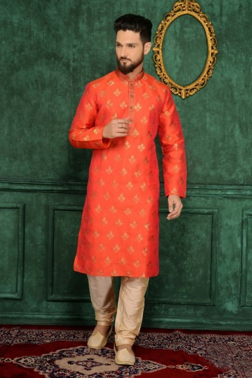 brocart de soie orange jaqurd usure ethnique kurta ready-made kurta payjama