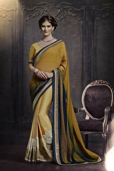 moutarde mousseline saree