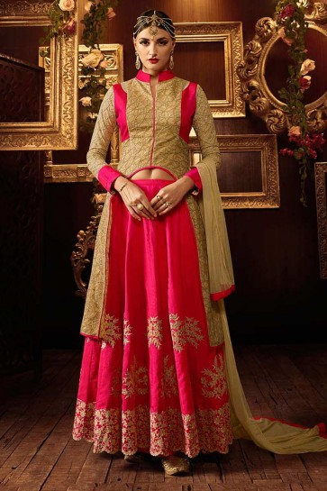 soie rose costume Anarkali