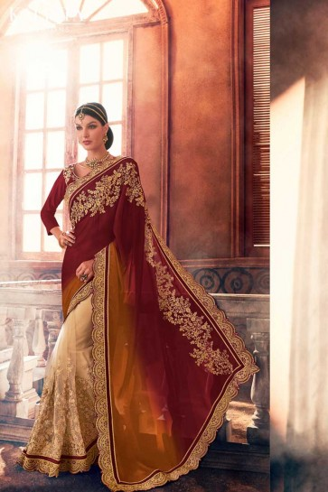 georgette brun, saree net