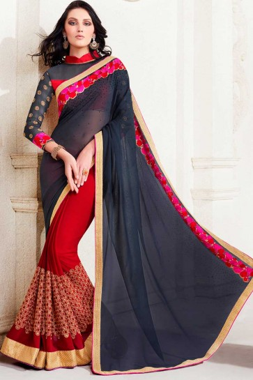 gris georgette saree