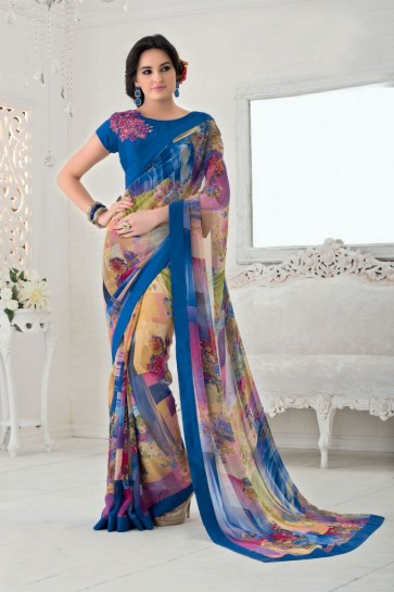 couleur multi color Bemberg saree