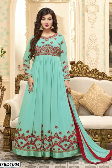 costume couleur turquoise georgette Anarkali