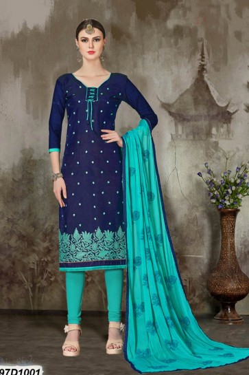 costume de couleur bleue churidar de soie marine Chanderi