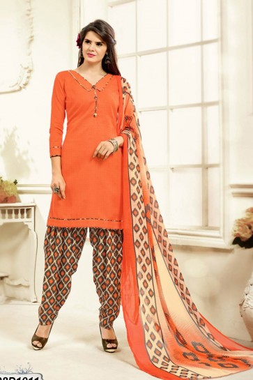 costume coton couleur orange Patiala