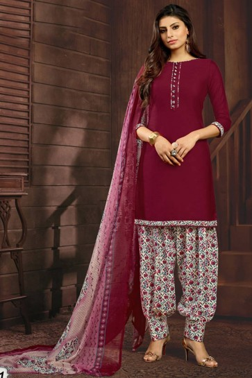 marooon (couleur vin) coton couleur Patiala costume