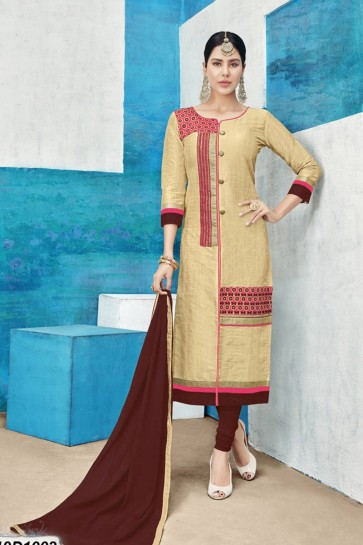 costume couleur beige churidar de soie Chanderi