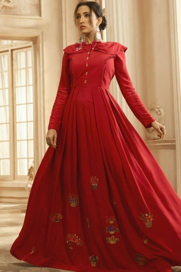 Maroon Cotton and rayon Gown Dress