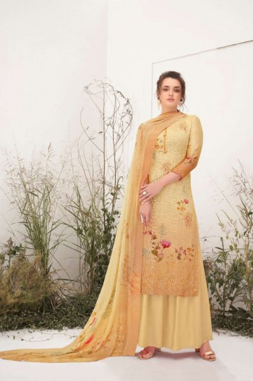 Light fawn yellow Cotton Eid Palazzo Suit