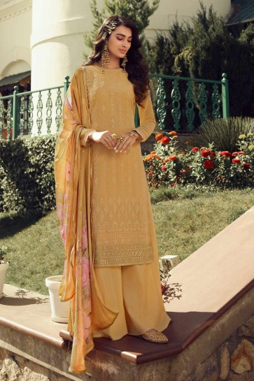 Dusty yellow Georgette Palazzo Suit