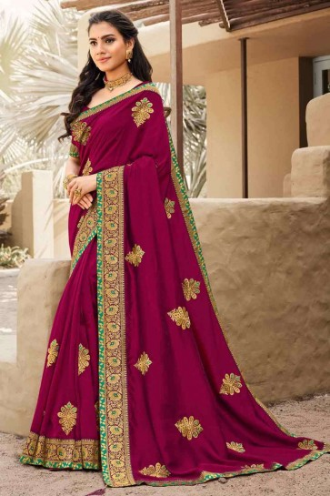 Embroidered Saree in Burgundy