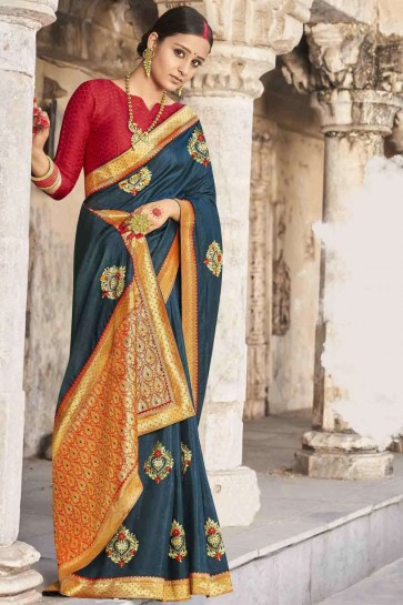 Embroidered Saree in Teal blue