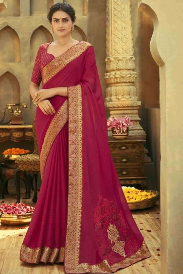 Embroidered Saree in Pink