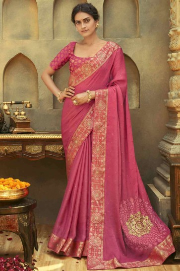 Embroidered Saree in Salmon