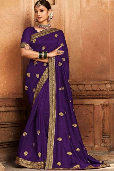 embroidered sari in violet