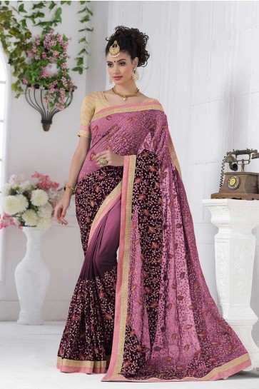 rose, magenta georgette saree