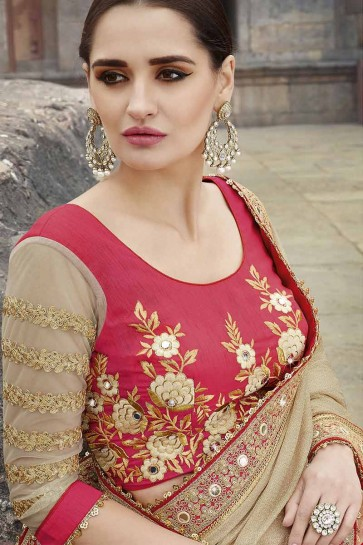rose, beige georgette saree