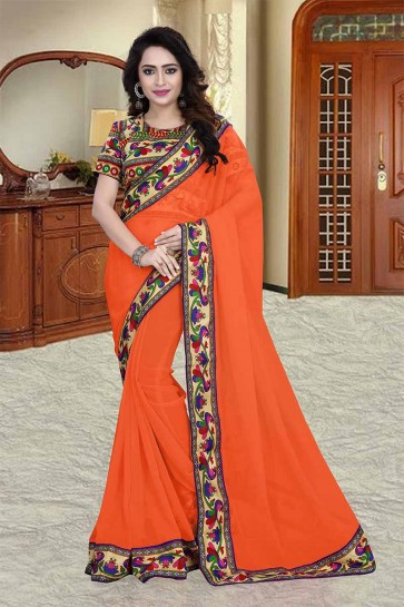 couleur orange 60 g georgette saree