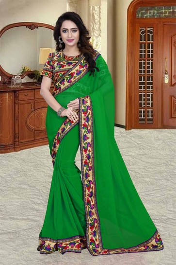 couleur verte 60 g georgette saree