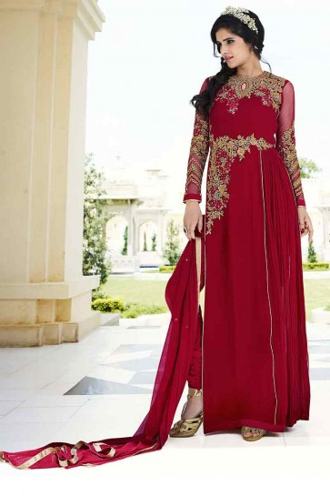 couleur marron georgette royale salwar kameez