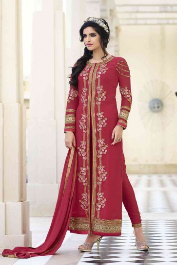 couleur rose georgette royale salwar kameez