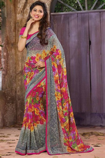 gris, couleur rose georgette saree