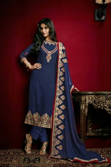 couleur bleue georgette faux costume churidar