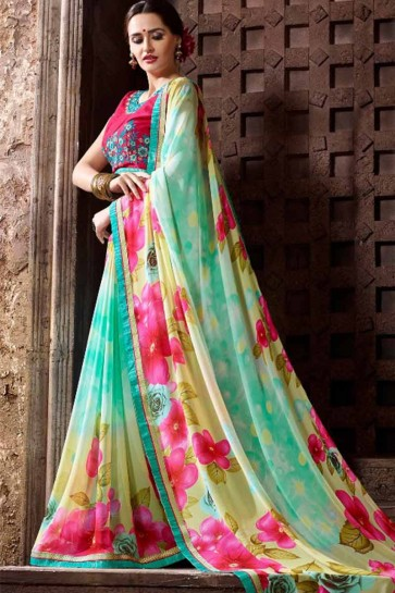 multi couleur georgette saree