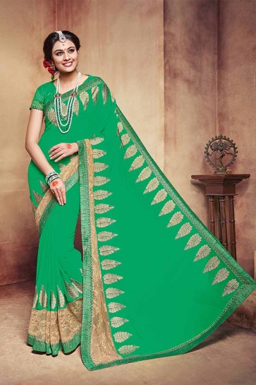 couleur verte georgette saree