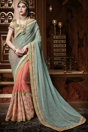 cyan, orange en mousseline de soie saree