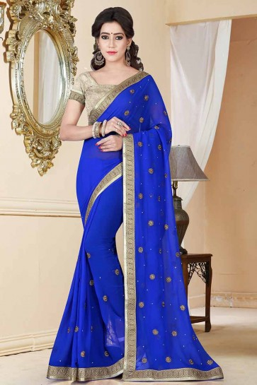 royale couleur bleue georgette saree