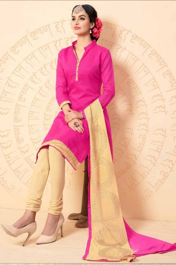 couleur rose churidar Chanderi costume