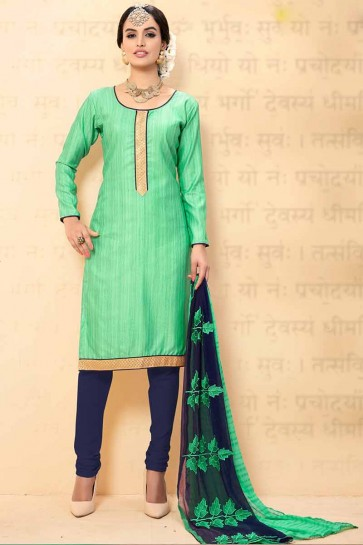 mer couleur verte churidar Chanderi costume
