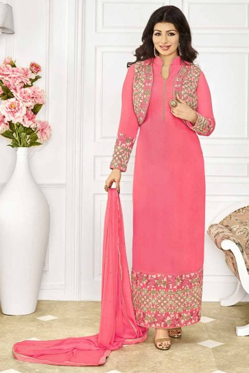couleur rose georgette churidar costume