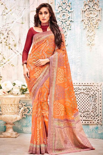 couleur orange kashida sari de soie