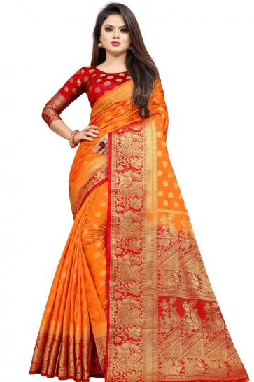 Sari En Soie Art Orange
