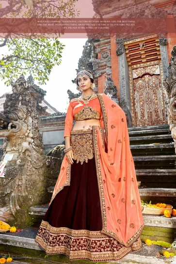 Georgette Lehenga Choli Marron