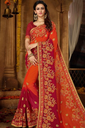 Orange, rouge Georgette saree