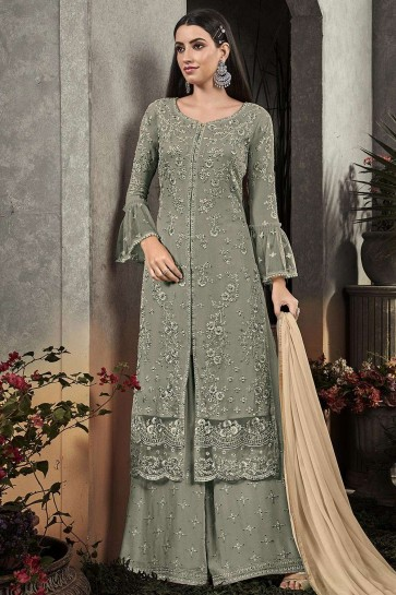 costume s palazzo en georgette gris turquoise